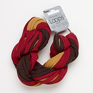 cord, tee shirt, cotton and silver-finished steel, burgundy / dark brown / light brown, 20-24mm wide with 44mm ring, 30-inch continuous loop. sold per pkg of 12.