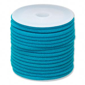 cord, velveteen and rubber, turquoise blue, 3mm round with 1-1.5mm hole. sold per 25-foot spool.