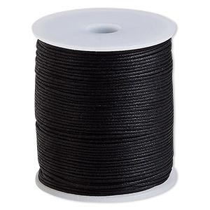cord, waxed cotton, black, 1mm. sold per 100-meter spool.