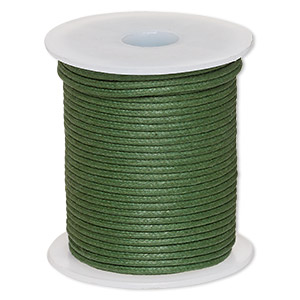 cord, waxed cotton, dark green, 2mm. sold per 25-meter spool.