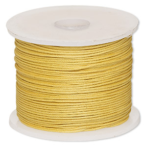 cord, waxed cotton, gold, 0.5mm. sold per 100-meter spool.