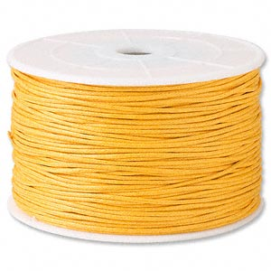 cord, waxed cotton, gold, 2mm. sold per 25-meter spool.