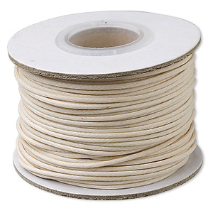 cord, waxed cotton, ivory, 1mm round. sold per 25-yard spool.