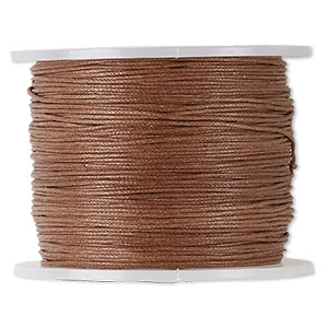 cord, waxed cotton, light brown, 0.5mm. sold per 100-meter spool.