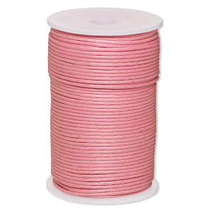 cord, waxed cotton, light pink, 2mm. sold per 100-meter spool.