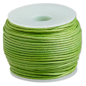 cord, waxed cotton, lime, 1mm. sold per 25-meter spool.