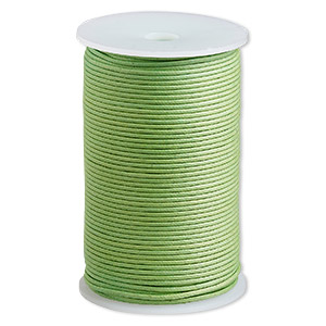 cord, waxed cotton, lime, 2mm. sold per 100-meter spool.
