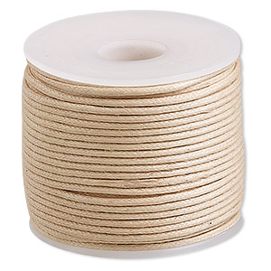 cord, waxed cotton, natural, 1mm. sold per 25-meter spool.