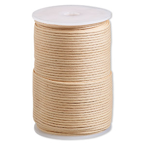 cord, waxed cotton, natural, 2mm. sold per 100-meter spool.