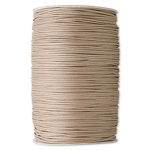 cord, waxed cotton, tan, 2mm round. sold per 500-yard spool.