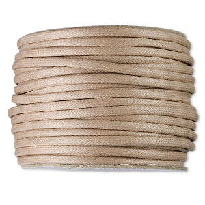 cord, waxed cotton, tan, 3mm round. sold per 25-yard spool.
