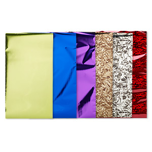 craft foil, lisa pavelka, aluminum and mylar, fantasy collection, 8x4-3/4 inch rectangle. sold per pkg of 6.