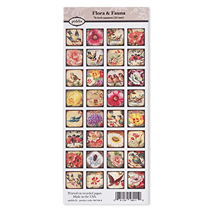 crafting paper, piddix, matte multicolored, 9-3/4 x 4-1/4 inches with (32) 7/8 x 7/8 single-sided square and flora  fauna patterns. sold individually.