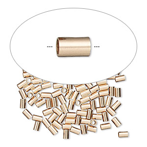 crimp, 14kt rose gold-filled, 3x2mm tube, 1.4mm inside diameter. sold per pkg of 100.