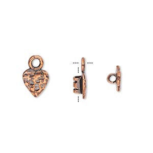 crimp, antiqued copper-plated brass, 8x7.5mm textured heart with loop, 2mm inside diameter. sold per pkg of 2.