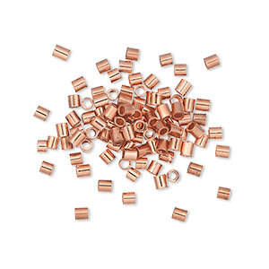 crimp, copper, 2x2mm seamless tube, 1.2mm inside diameter. sold per pkg of 100.