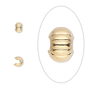 crimp cover, gold-plated brass, 4mm corrugated round. sold per pkg of 500.