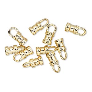 crimp end, gold-plated brass, 6x4.5mm tube with loop, 3mm inside diameter. sold per pkg of 10.