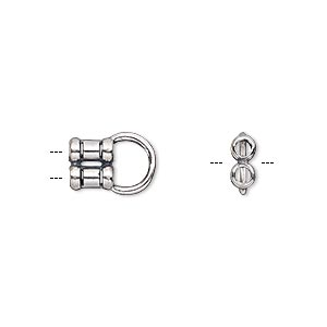 crimp end, jbb findings, antiqued sterling silver, 12x8mm 2-strand tube with 2mm inside diameter. sold per pkg of 2.