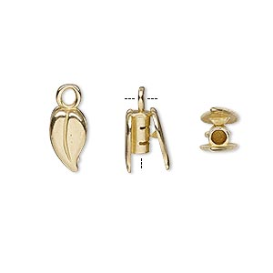 crimp end, jbb findings, brass, 10x6mm double-sided leaf, 2mm inside diameter. sold per pkg of 2.