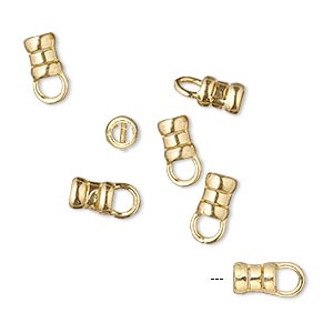 crimp end, jbb findings, brass, 6x4mm tube with loop, 2.5mm inside diameter. sold per pkg of 4.