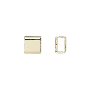 crimp, gold-finished brass, 4x4mm flat rectangle, 3x1.5mm inside diameter. sold per pkg of 20.