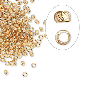 crimp, gold-plated brass, 2.5mm corrugated round, 1.2mm inside diameter. sold per pkg of 500.