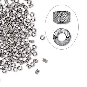 crimp, gunmetal-plated brass, 2.5x1.5mm corrugated round, 1.2mm inside diameter. sold per pkg of 500.