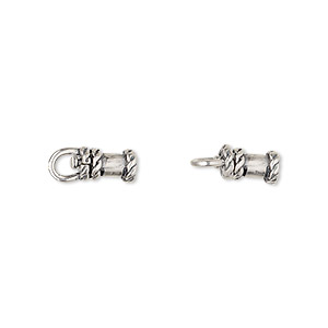crimp, jbb findings, antique silver-plated brass, 8x5mm tube with swivel, loop and rope trim design, 2mm inside diameter. sold per pkg of 2.