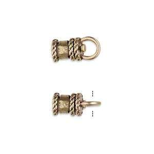 crimp, jbb findings, antiqued brass, 10x6.5mm tube with swivel, loop and rope trim design, 4mm inside diameter. sold per pkg of 2.