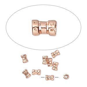 crimp, jbb findings, copper-plated brass, 4x2.5mm tube, 1mm inside diameter. sold per pkg of 10.