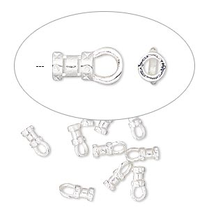 crimp, silver-plated brass, 4.5x3mm tube with loop, 1.5mm inside diameter. sold per pkg of 100.