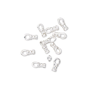 crimp, silver-plated brass, 4x2mm tube with loop, 1mm inside diameter. sold per pkg of 100.