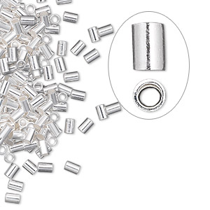 crimp, sterling silver, 3x2mm cut tube, 1.3mm inside diameter. sold per pkg of 100.