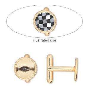 cuff link, gold-finished brass, 12mm round bezel setting. sold per pkg of 2 pairs.