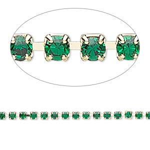 cupchain, glass rhinestone and gold-finished brass, emerald green, 2mm round. sold per pkg of 1 meter, approximately 320 cups.