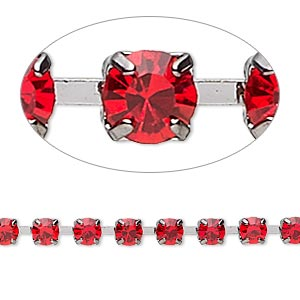 cupchain, glass rhinestone and gunmetal-plated brass, light red, 4mm round. sold per pkg of 1 meter, approximately 160 cups.