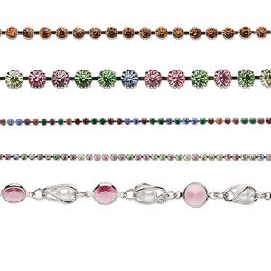 cupchain mix, swarovski crystals and imitation rhodium-plated brass, mixed colors, 2-8mm cupchain. sold per pkg of (5) 1-meter strands.