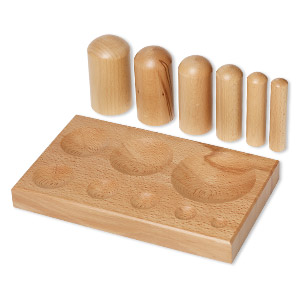 dapping block and punch, wood, 10-3/4 x 6-1/2 x 1 inches. sold per 7-piece set.