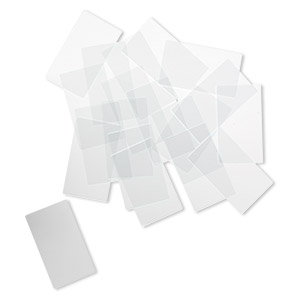 design element, glass, clear, 1-3/4 x 1-inch flat rectangle with grounded edges. sold per pkg of 20.