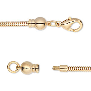 dione easy-on chain, gold-plated brass, 2.6mm snake, 6-1/2 inches with 3.3mm threaded ball end with lobster claw clasp. sold individually.