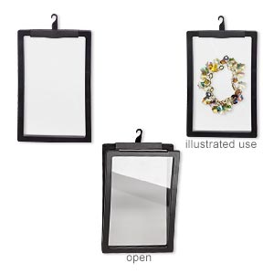 display, 3d suspension, plastic and silicone, black and clear, 7-1/4 x 4-3/4 x 1/2 inch rectangle with hook and 6-1/4 x 3-7/8 inch inside dimension. sold individually.