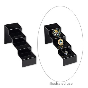 display, acrylic, black, 4 x 2-1/2 x 8-inch curved step ramp. sold per pkg of 2.