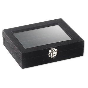 display case, ring, velveteen, black, 7x5-1/2 inches. sold individually.