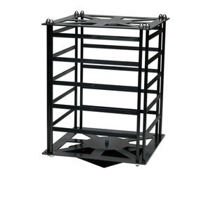 display, earring, acrylic, black, 13-1/4 x 9-3/4 x 9-3/4 inch revolving rack. sold individually.
