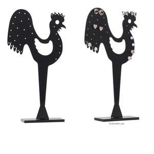 display, earring, acrylic, black, 6-1/2 x 1-1/8 x 2-3/8 inch rooster. sold individually.
