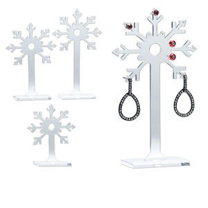 display, earring, acrylic, clear, (1) 5-5/16 x 1-1/8 x 2-inch, (1) 4-1/2 x 1-1/8 x 2-inch and (1) 3-1/2 x 1-1/8 x 2-inch snowflakes. sold per set of 3.