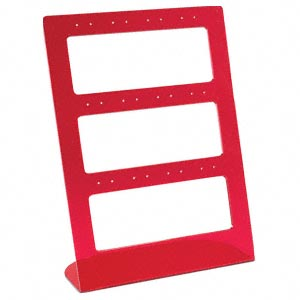 display, earring, acrylic, clear and red. 8-1/2 x 6 inches. sold per pkg of 2.
