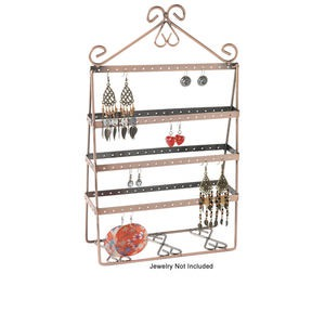 display, earring, antique copper-finished steel, 13-1/2 x 8 x 3-inch rectangle with 7 rows. sold individually.