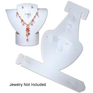 display, foldable, necklace and earring, acrylic, flocked white, 6-1/4 x 6 x 2-1/4 inches assembled. sold per pkg of 2.